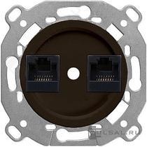 механизм компьютерной розетки + накладка коричневый BIRONI В3-302-22