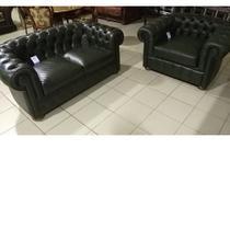 диван 2-х местный Честер зелёная кожа 165см 88/74см
